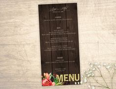 Rustic Country Printable Menu design No. 215 - personalized table numbers for wedding, bridal shower, baby shower DIY