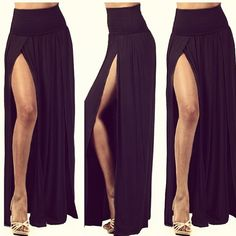 Black high waisted maxi skirt with slits – Modern trending things ...