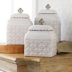 Mud Pie Fleur De Lis Canister 3-piece Set #WhimsicalUmbrella #Canister #Kitchen  whimsicalumbrella.com