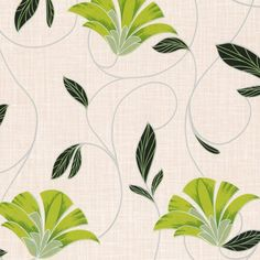 Erismann Nouveau Fan Floral Wallpaper Green / Cream - Patterned Wallpaper from I love wallpaper UK