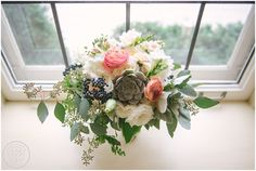 Bridal bouquet with succulents. A St. Paul College Club Wedding in St Paul, Minnesota. // Photo by Charleston , SC Wedding Photographers Aaron and Jillian Photography