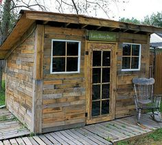 s 11 sheds to show your handy husband this summer, outdoor furniture, outdoor living, Their Potting Shed from Pallets and Cans