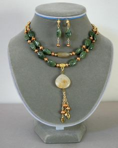Soft Green Nephrite Champagne Pearls and Citrine by Karenda, $42.00