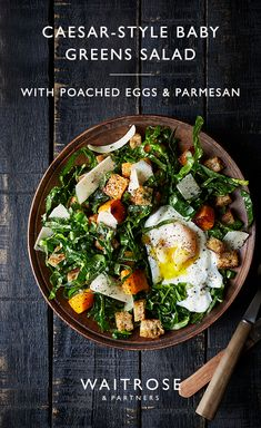Caesar-style baby greens with poached egg, parmesan and croutons New Recipes, Salad Recipes, Vegetarian Recipes, Cooking Recipes, Healthy Recipes, Waitrose Food, Curry, Dinner Salads, Veggie Dishes