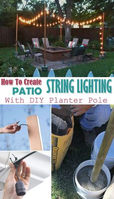 This tutorial for these DIY String Light Poles and Planters will show you how to build beautiful light poles for your backyard using just a few materials. Beautify the outdoors! Read what I learned building these DIY String Light Poles as a beginner. Backyard String Lights, Backyard Lighting, Deck Lighting, String Lighting, Lights For Patio, Lighting Ideas, Club Lighting, Diy Concrete Planters, Diy Planters