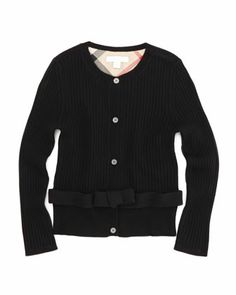 Extra-Fine Knit Cardigan, Black, 4Y-10Y by Burberry at Neiman Marcus.