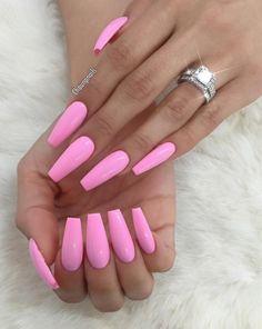My nails, long nails, pink summer nails, pink bling nails, acrylic nail Pink Summer Nails, Nails Yellow, Light Pink Nails, Black Nails, Matte Pink Nails, Acrylic Summer Nails Coffin, Summer Nails 2018, Acrylic Nails Stiletto, Bright Summer Acrylic Nails