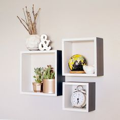 Square Shelves // Set of 3 // Wood Shelves // by BlissNotions