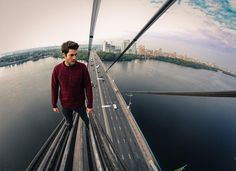JAMES KINGSTON with MUSTANG WANTED, climbed this Ukranian Bridge. 2014.