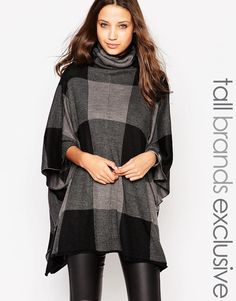 Noisy May Tall Knitted Check Poncho-  med