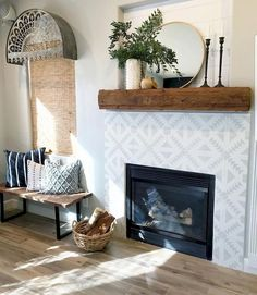 Fireplace wall, fireplace surrounds, fireplace design, white fireplace, far White Fireplace, Farmhouse Fireplace, Fireplace Wall, Fireplace Surrounds, Fireplace Design, Fireplace Mantels, Farmhouse Decor, Fireplace Ideas, Modern Farmhouse