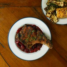 Grilled Pork Chops with Cherry-Vodka Gastrique- caveman meat on top of ...