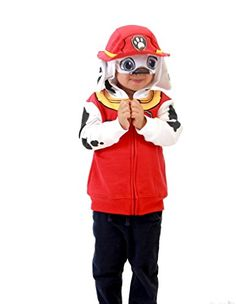 Paw patrol marshal toddler boys costume hoodie with fire cap and flap ears...
