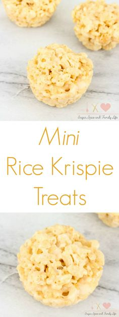 Mini Rice Krispie Treats are a bite-sized snack treat that the whole family will enjoy. This kid friendly snack is easy to grab on the go and the perfect size for little hands. - Mini Rice Krispie Treats Recipe from Sugar, Spice and Family Life #RiceKrispieTreats #ricekrispies #kidfriendlyrecipe #snack #marshmallow #recipe