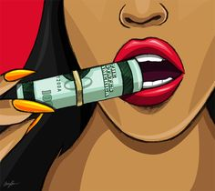 I'm So Rich (Canvas) by Brandon Maroney Art. This canvas print is sure to make a statement in any space. It's hand-stretched on a poly-cotton blend canvas with a matte finish coating. Black Girl Art, Black Art, Art Girl, Thor's Hammer Marvel, Canvas Painting Designs, Pop Art Lips, Trill Art, States In America, Thors Hammer