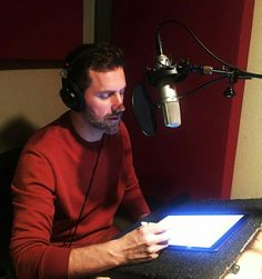 Richard using his beautiful voice to narrate a book
