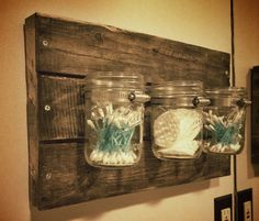 You can find this in my Etsy store :) Small Rustic Mason Jar Organizer by RusticBluegrass on Etsy, $35.00