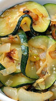 Zucchini with Onion and Garlic is delicious prepared by first taking the water out of the zucchini so it can saute beautifully in a skillet. Zucchini Onion Recipe, Sauteed Zucchini Recipes, Sauteed Zucchini And Squash, Sauteed Vegetables, Onion Recipes, Vegetable Recipes, Zucchini Chips, Crab Recipes, Healthy Vegetarian Recipes