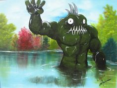 """""""Swamp Monster"""" by Christopher McMahon -- an awesome idea to spice up old landscapes you find at garage sales or thrift stores..."""
