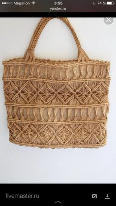 Macrame is king! Vintage tote bag from made from a khaki brown macrame twine woven into intricate geometric patterns. Macrame Purse, Macrame Jewelry, Patterns Background, Festival Hippie, Burlap Tote, Macrame Patterns, Geometric Patterns, Macrame Design, Micro Macrame