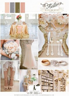 Wedding inspiration - Soft Peach, Grey Chiffon, Gold & Pink Velvet.