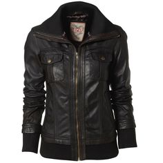 Il2l.co.uk £74.99 More of a fashion jacket rather than bikers. Soft cuffs and bottom. A more comfort function. Golden coloured zip for contrast. Fold down collar.
