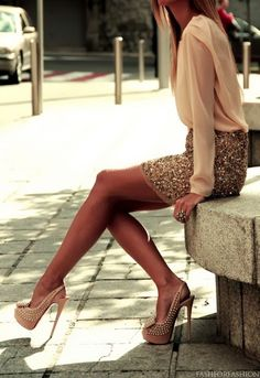 street style: sequin skirt and heels with sheer blouse