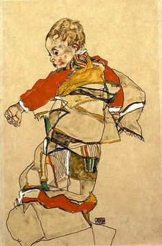 Egon Schiele (Austrian, 1890–1918). Portrait of a Child (Anton Peschka Jr.), 1916. Oil on yellow-beige wove paper, laid down on cream wove paper. The Cleveland Museum of Art