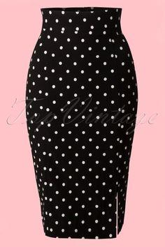 Steady Clothing Pencil skirt black polkadot 120 14 14279 20141029 002VWB  High Waisted Pencil Skirt 7183a1373