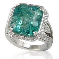 <li>Colombian emerald and white diamond ring</li><li>14k white gold jewelry</li><li>This ring is available in <b>size 7 only.</b></li>