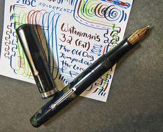 Waterman Fat 32 X Fine Semi Flex 14K Ideal Gold Nib BLUE Fountain Pen vtg 52 #Waterman