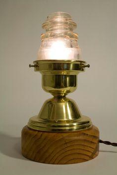 Insulator Lamp #insulator #glass #twisted #cloth #wire #schoolhouse #nightlight #lamp #steampunk #americana $175