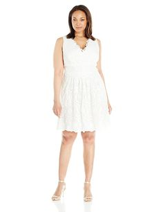 Adrianna Papell Women's Plus-Size V-Neck Sleeveless Fit-and-Flare Lace Dress * Additional details at the pin image, click it  : Dresses Sale