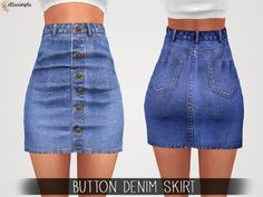 The Sims 4 Elliesimple - Button Denim Skirt Sims 4 Mods Clothes, Sims 4 Clothing, Sims 4 Cas Mods, The Sims 4 Packs, The Sims 4 Cabelos, Sims 4 Children, Sims4 Clothes, Sims 4 Dresses, Sims 4 Gameplay