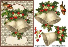 Vintage Christmas Bells Card Front and Decoupage on Craftsuprint designed by Sue Way - A traditional style card front with Victorian bells, in gold with red and green holly. - Now available for download!