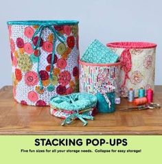 Stacking Pop Ups are now available in 5 fun sizes! Pop Ups collapse for easy storage.  Full color pattern with step-by-step photos. From Mini to Extra Large? this pattern makes all pop up sizes. Pattern does not include Pop-Up Springs. Refills are sold separately.  FQG123 Medium Pop-Up Refill. FQG124 Large Pop-Up Refill FQG125 Extra Large Pop-Up Refill FQG126 Stacking Pop-Up Refills (All 3 sizes) FQG131 Mini Pop-Up Refill