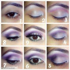 Cut Crease Purple and Green Makeup Pictorial.. الخطوات المصورة لمكياجي بنفسجي وأخضر