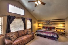 Sasquatch Ridge Pigeon Forge vacation rental cabin - Bear Bedroom (master) with King bed and queen sofa sleeper, both with memory foam mattresses.