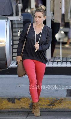 cda0648a43020 Hilary Duff Style and Fashion - Koral Skinny Jeans on Celebrity Style Guide  Red Skinny Jeans