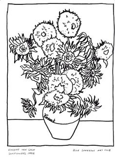 Vincent Van Gogh, Sunflowers 1888. Free Colouring Page