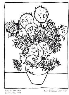 van goghs sunflowers coloring pages | 1000+ images about Vincent Van Gogh on Pinterest | Vincent ...