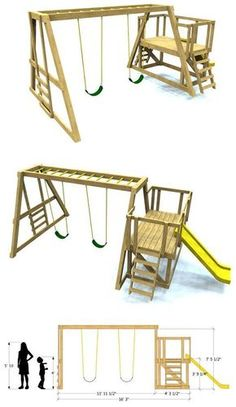 35 Stunning Diy Playground Concepts To Make Your Children Glad Concepts - playground natural playgrounds ideas for kids playground playground ideas concept criativo Backyard Swing Sets, Diy Swing, Backyard For Kids, Diy For Kids, Backyard Ideas, Swing Sets Diy, Kids Swing Set Ideas, Build A Swing Set, Backyard House