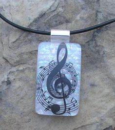 Music Pendant Dichroic Fused Glass Music Jewelry by JumpGlass