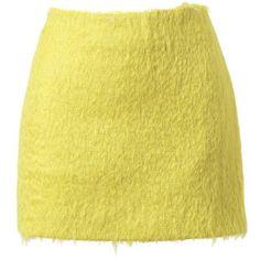 SIMONE ROCHA Mohair and virgin wool miniskirt ($555) ❤ liked on Polyvore featuring skirts, mini skirts, bottoms, saias, yellow, short mini skirts, beige mini skirt, short skirts, simone rocha and yellow skirt