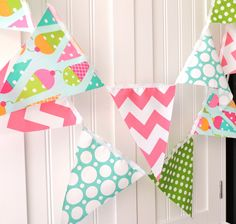 9 feet Banner, Bunting, 21 Pennant Flags, Ice Cream Cones, Polka Dots, Pink Chevron, Girl's Birthday Party Decor