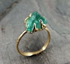 Raw Uncut Sea Green Apatite Rough 14k yellow gold Gemstone Cocktail statement or Stacking Ring recycled gold byAngeline