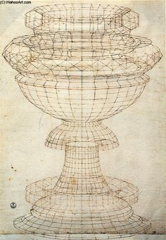 'vase dans perspective', stylo de Paolo Uccello (1397-1475, Italy)