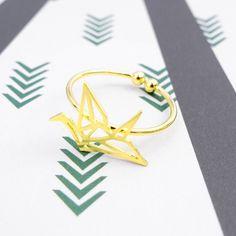 Envol Oiseau Origami Gold Ring - Majolie   - 1