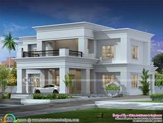 4 bedroom Colonial type flat roof house in an area of 2900 square feet by Hirise Architects & Engineers from Calicut, Kerala. House Roof Design, Flat Roof House Designs, Two Story House Design, 2 Storey House Design, Classic House Design, Village House Design, Duplex House Design, Kerala House Design, Facade House
