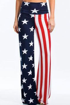 8402393b3 Women Dark-blue Patriotic American Flag High Waist Casual Pants - S